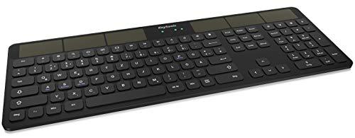 KeySonic Bluetooth Tastatur mit Solar, kabellos für Windows, Android, Ios, MacOS, Schwarz