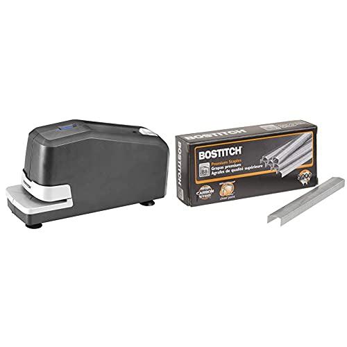 Bostitch Impulse 30 Electric Stapler, 30 Sheet Capacity, Black & Bostitch B8 PowerCrown Premium Staples, 0.25 Inch Leg, Full-Strip (STCR21151/4)
