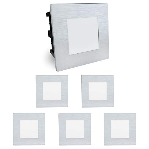6 Stück SSC-LUXon® Treppenleuchte LED Piko-SQ Wandeinbauspot - für Stufen & Absätze im Außenbereich IP65 230V 1,5W warmweiß