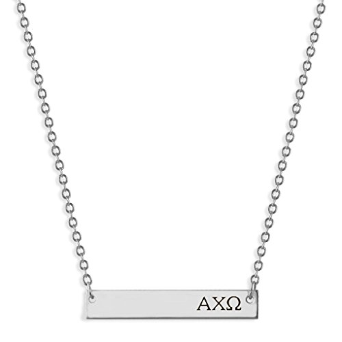 A-List Greek Alpha Chi Omega Necklace, Horizontal Bar, AXO Engraved Greek Letters Jewelry, Silver, Great Gift for Sorority Big Little