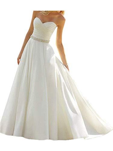 YASIOU Hochzeitskleid Elegant Damen Herzausschnitt Lang A Linie Hochzeitskleider Gürtel Brautmode Brautkleid mit Schleppe