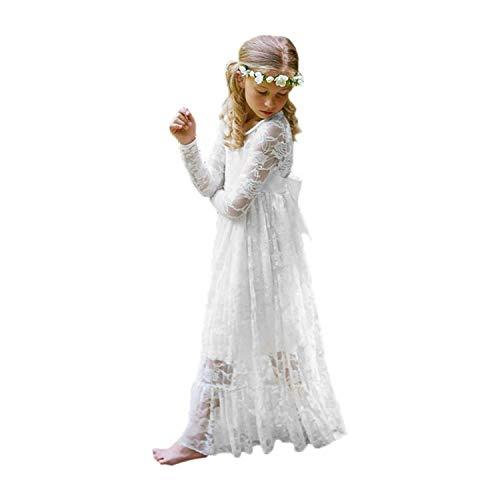 CDE Kinder Boho Spitzenkleid Prinzessinnenkleid mit Binde Gürtel Mädchen Chic A-Linie Lang Blumenmädchenkleider Brautjungfernkleid (Weiß, Größe 8)