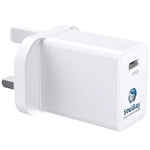 SoulBay Fuente de alimentación de 20 W PD 3.0, USB C, mini enchufe, cargador rápido adaptador compatible con 11 Pro Max / 12 Pro / 12 Mini / 12 Pro Max / Air 2020 / otros dispositivos USB-C