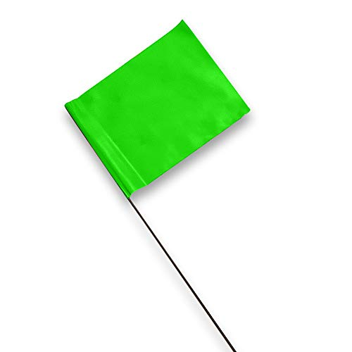 ACE Supply Marking Flags - 4 x 5-Inch Flag on 15-Inch Steel Wire - Green, 100-Pack - Markers for Lawn Sprinklers, Irrigation, Property Line, Yard & Garden, Survey Stakes, Invisible Fence