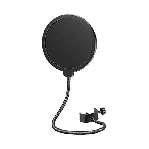 Mikrofon Popschutz 6 Zoll Mikrofon Windschutzscheibe Pop Filter, Mikrofon Runde Form Wind Pop Filter mit Stand Clip, für Blue Yeti, MXL, Audio Technica und andere Mikrofone