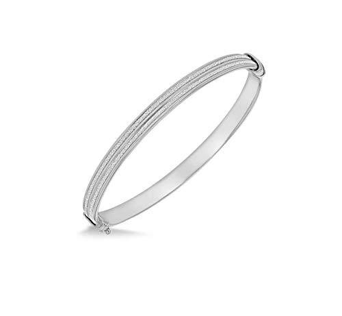 Tuscany Silver Damen-Armreif Sterling-Silber 925 rhodiniert Doppelstreifen Stardust 62,5 mm x 49,5 mm