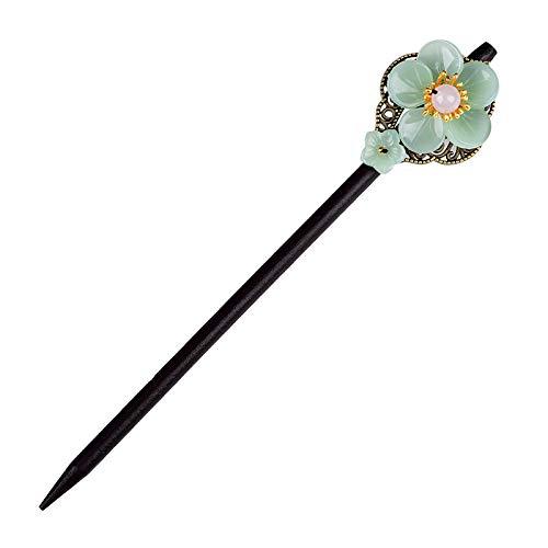Stylish Wooden Handmade Hair Sticks for Hair Making Accessories, Vintage Retro Chopsticks for Women Long Hair, Hairpins Sticks Clips Barrettes for Bun Chignon Hair Bulk (A)