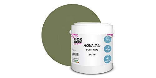 Peinture acrylique aspect satin Aqua déco - Murale - 44 couleurs - 2,5 L - 25 m² (Vert Kaki)