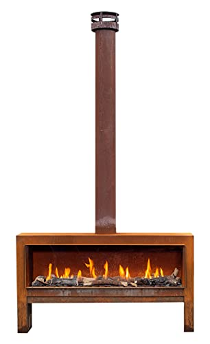 Faber themood [gaskamin éclairage d' extérieur]: Corten acier rouillé - gaz naturel gestion (H gaz) - Bois de déco