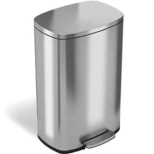 iTouchless SoftStep 13.2 Gallon Step Trash Can with Odor Filter & Removable Inner Bucket, 50 Liter Garbage Bin for Kitchen or Office, Silver 13 Gal Stainless Steel