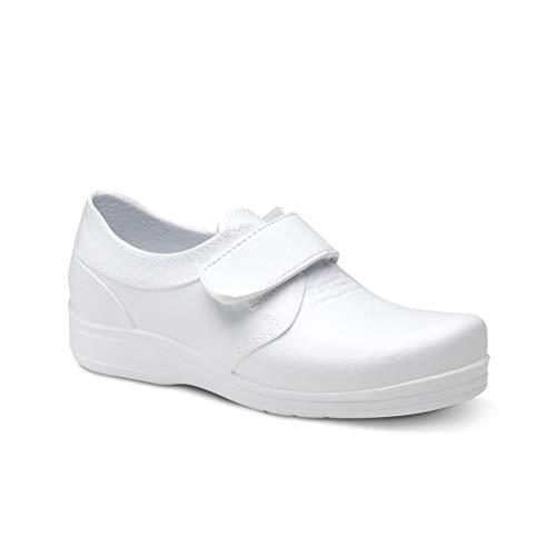 Feliz Caminar - Zapato Sanitario Flotantes Velcro Blanco, 42