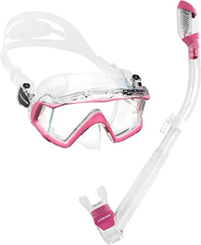 Cressi Panoramic Wide View Mask with Dry Snorkel Set Clear Pink