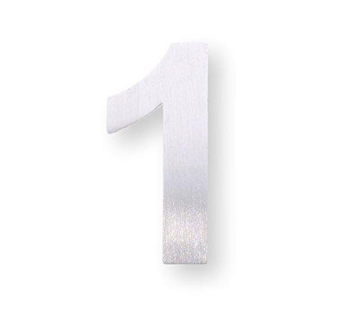 """Metall-Zahl """"1"""" aus gebürstetem Edelstahl – Höhe 4cm – Hausnummer, Zimmerbeschriftung, Bürobeschriftung, Türsymbol, Wandbeschilderung – rostfrei und selbstklebend ohne bohren"""