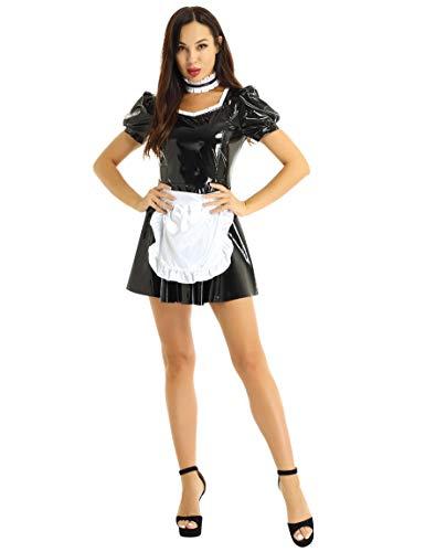 IEFIEL Mujer Lencera Charol Sexy Disfraz de Criada Vestido de Sirvienta Conjunto de Lencera Cuero Wetlook Mini Vestido Mucama+Delantal+Collar Negro A S