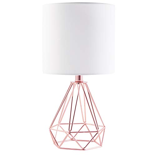 CO-Z Modern Table Lamp with White Fabric Shade, Rose Gold Desk Lamp with Hollowed Out Base for Living Room Bedroom Dining Room