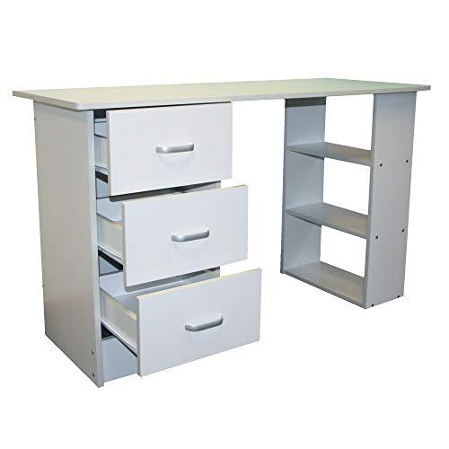 Redstone Computer Desk 3 Drawers 3 Shelves (White)