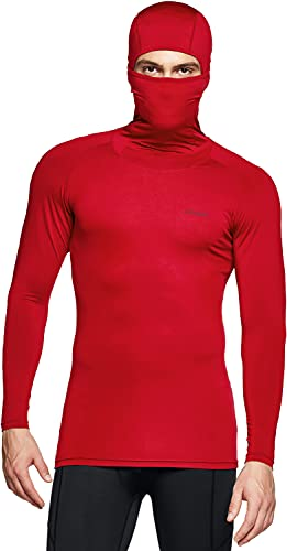 TSLA Men's Long Sleeve Workout Shirts Hoodie with Mask, UPF 50+ Cool Dry Fit Sports Compression Shirts, Hyper Control Red, Large