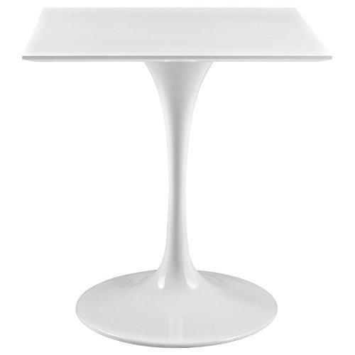 Modway Lippa 28' Mid-Century Modern Dining Table with Square Top and Pedestal Base in White