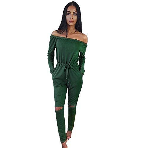 HaiDean Signore Tuta Elegante Spalla Casual Moderna Pagliaccetto Tuta Lunghezza Manicotto con Tasche Pantaloni Lunghi della Tuta Tuta Clubwear (Color : Green, Taglia Unica : S(B 88 CM))