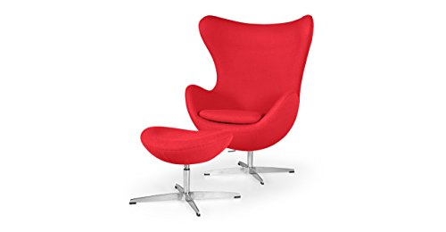 Kardiel Egg Chair & Ottoman, Red Boucle Cashmere Wool