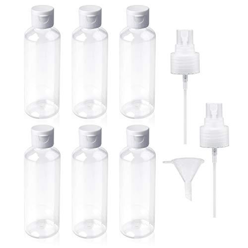 JZZJ 6 Piezas Botella de Viaje de Plástico Botella Transparente de Vuelo con Embudo Pequeño para Vuelo, Aeropuerto, Vacaciones (100 ML)