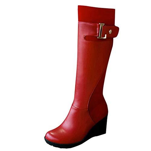 Yowablo Stiefel Schuhe Frauen High-Tube Stiefel Keilgürtel Schnalle Seite Reißverschluss Knight (36,rot)