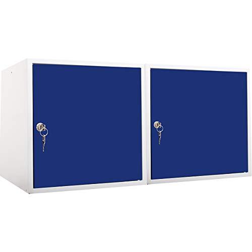 newpo Mega Deal | 2x Schließfachwürfel | HxBxT 45 x 45 x 45 cm | Blau - Garderobe Schließfach Schließfachschrank Schließwürfel
