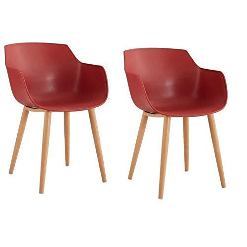 THEA Juego de 2 sillas de comedor - Estilo escandinavo - Rojo terracota - L 56 x P 57 x H 79 cm