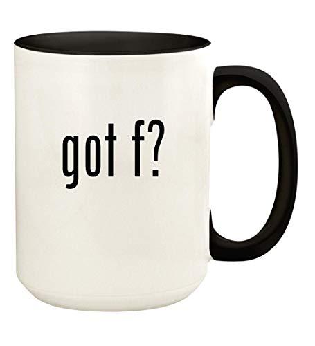 got f? - 15oz Ceramic Colored Handle and Inside Coffee Mug Cup, Black