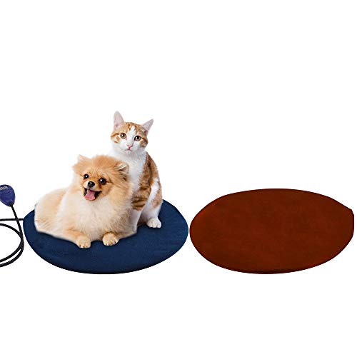 Cat Heating Pad,self Heating cat pad with Safe Waterproof Adjustable Warming Mat, Heated Dog pad with Chew Resistant Cord and Removable Cover for Cats and Small Dogs (Round, Blue)