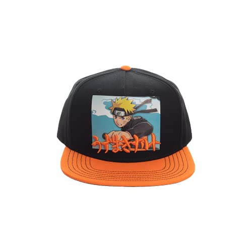 Bioworld Naruto Anime Cartoon Black and Orange Snapback Hat
