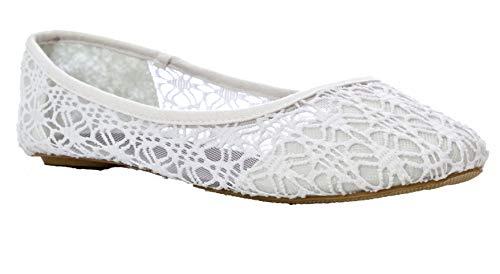 Charles Albert Women's Breathable Crochet Lace Slip-On Ballet Flat in White Size:11