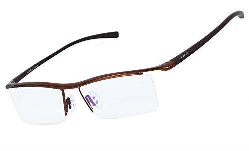 Agstum Herren Titan Brillengestell Semi-randlos Brillen Business-optische Gläser Rahmen (café)