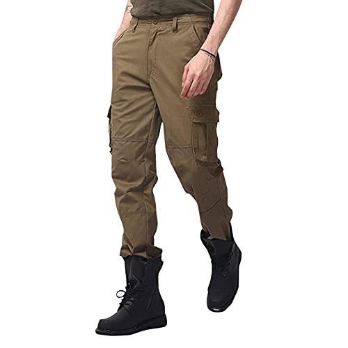 SGSD Amazon - Pantalones de trabajo para hombre, sueltos, informales, de secado rápido, multibolsillos, rectos, lisos, para exteriores amarillo XL