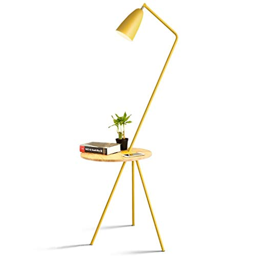 Eenvoudige Floor Lamp, E27 Metal Staande Lamp met houten tafel vloer Lamp for slaapkamer, woonkamer, Office Vloerlamp Plank Lamp LED (Color : Yellow)