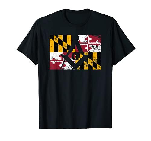Mens Maryland Masonic Square & Compass Freemason State Flag T-Shirt