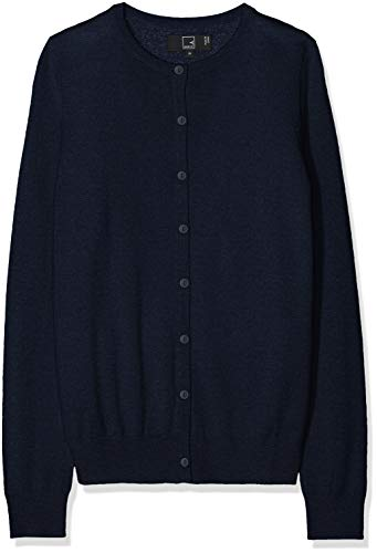 Marchio Amazon - MERAKI Cardigan Lana Merino Donna Girocollo, Blu (Navy), 40, Label: XS