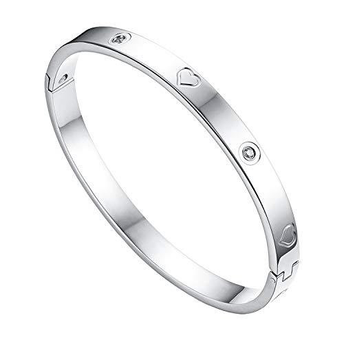 JewelryWe Schmuck Damen Armreif Edelstahl Zirkonia Herz Prägung Armband 6mm breit mit Schließe Armspange Gravur Silber