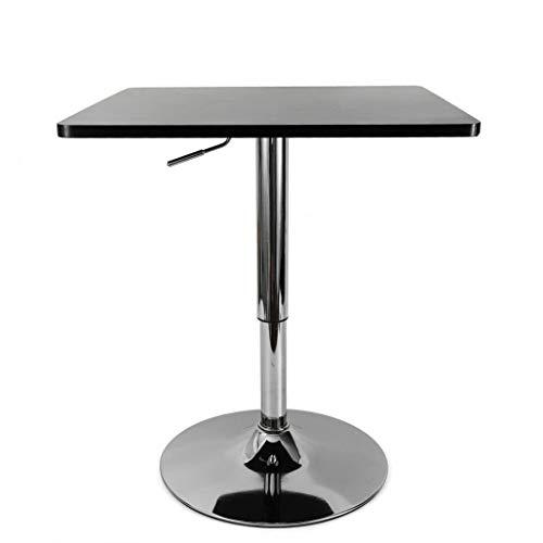 WUPYI2018 - Mesa de bar cuadrada de 60 x 60 cm, altura ajustable 70-90 cm, color negro