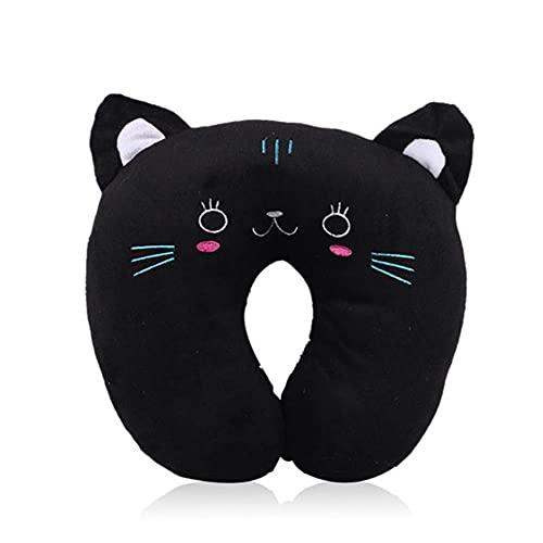 Almohada en Forma de U de Dibujos Animados Almohada en Forma de U para el Cuello Almohada Cervical de Felpa para Dormir Almohada Linda de Viaje en avión Panda Pig Tiger Black Cat-Cat, Estados Unidos