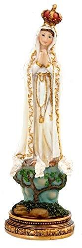 DRW Virgen de Fátima 11 cm Resina con Caja PVC con la Historia 11 cm