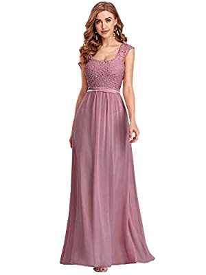 Ever-Pretty Women's A-Line Floral Lace Long Bridesmaid Dress Prom Party Dress Orchid US4
