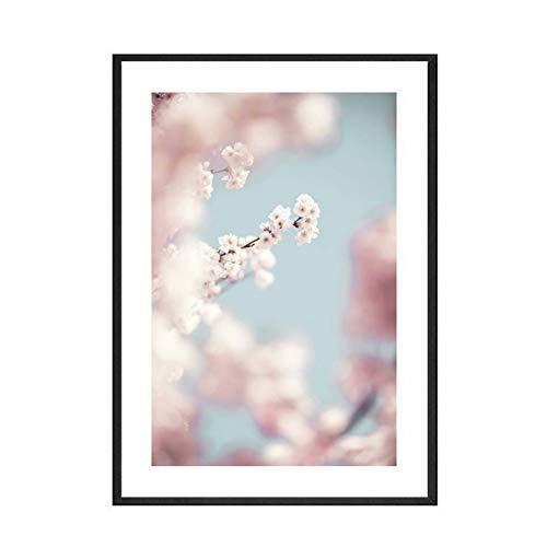GSGJWJ Póster Cuadro De Lienzo Abstracto con Letra De Flor De Galería Rosa Póster con Impresión De Arte De Pared Cuadro De Paisaje Marino Decoración Pintura Sala De Estar Decoración De-50x75cm