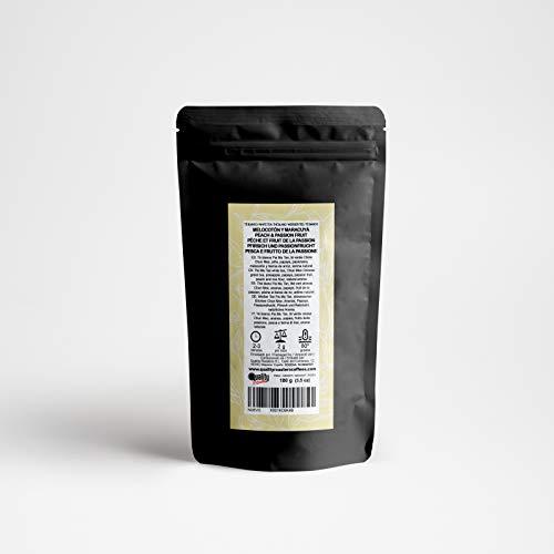 Quality Roasters Coffees Té Blanco. Melocotón y Maracuyá. Mezcla. Sabor tropical. Piña, papaya, pasionaria, melocotón. Antioxidante. 100 gramos