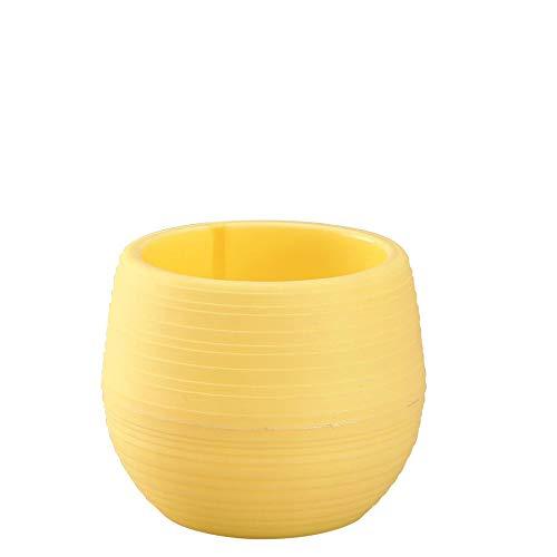 Jarrón color amarillo redondo. Especiales para decorar con flores.