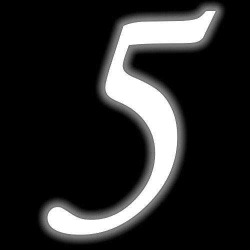 Leuchtziffer - Selbstklebende Hausnummer - 5 - leuchtend, 10 cm hoch - Kleben statt Bohren, nachleuchtend Aufkleber, Ziffer, Zahlen - Leuchtfolie
