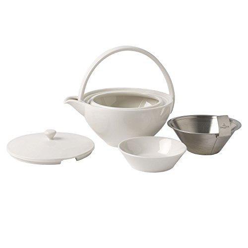 Villeroy & Boch Tea Passion Teekanne mit Filter, 0,75 l, Premium Porzellan/Edelstahl, Weiß