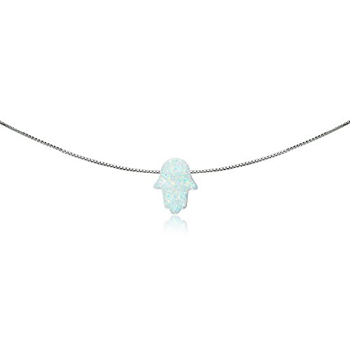 GemStar USA Sterling Silver Synthetic White Opal Hamsa Hand of Fatima Dainty Choker Necklace