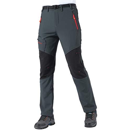 shine future Pantalones de senderismo para hombre, pantalones de trekking, pantalones de softshell, impermeables, resistentes al viento, transpirables, con cremallera, gris, small