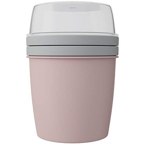 WELLGRO Müslibecher To Go Joghurtbecher mit Müslibehälter - BPA frei - 600 ml, 15,5 x 11,5 cm (HxØ) - Hergestellt in der EU - Menge und Farbe wählbar, Farbe:Rosa, Stückzahl:1 Stück